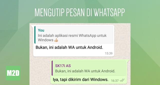 Mengutip pesan di WhatsApp