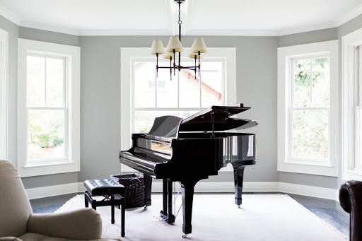 Grand piano in modern farmhouse living room
