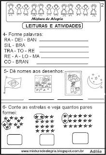 Leitura sobre a bandeira do Brasil