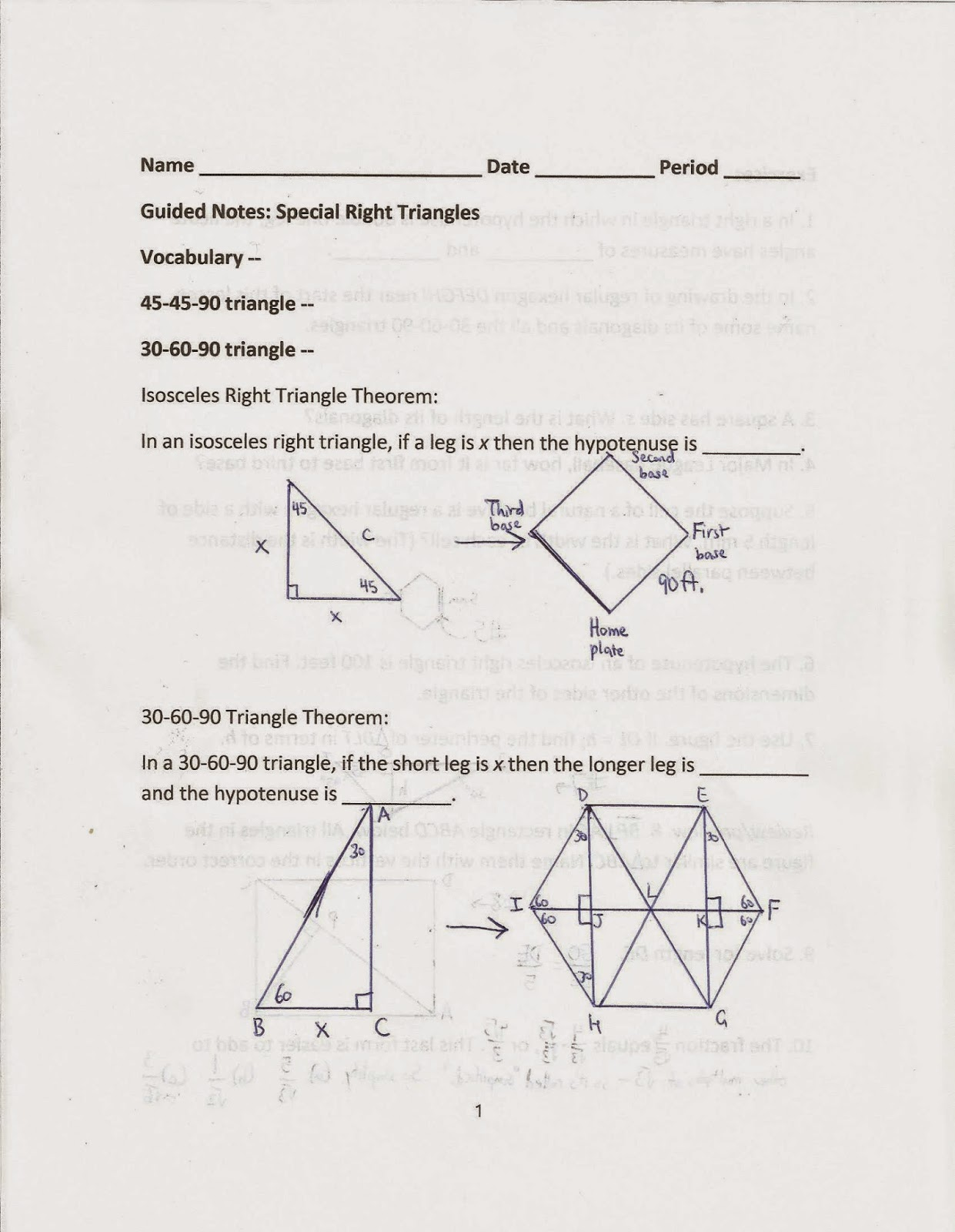 Geometry Common Core Style Lesson 14 1 Special Right