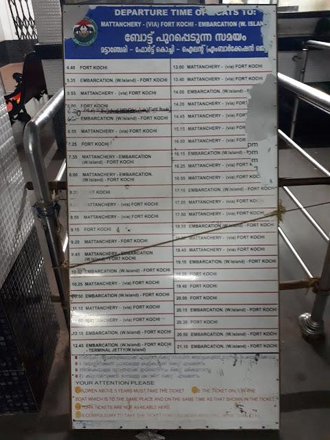 Horaires ligne Ernakulam - Fort Kochi