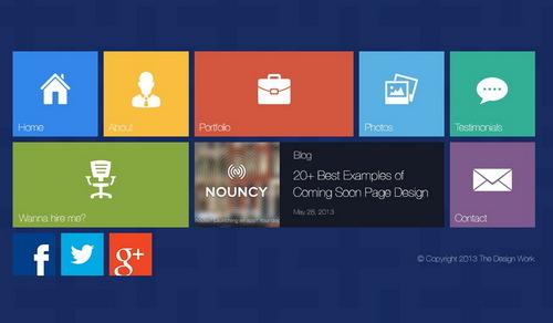 Free Metro Ui Style Web Design Psd Template