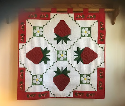 Sue D's Strawberry Splendor wall hanging