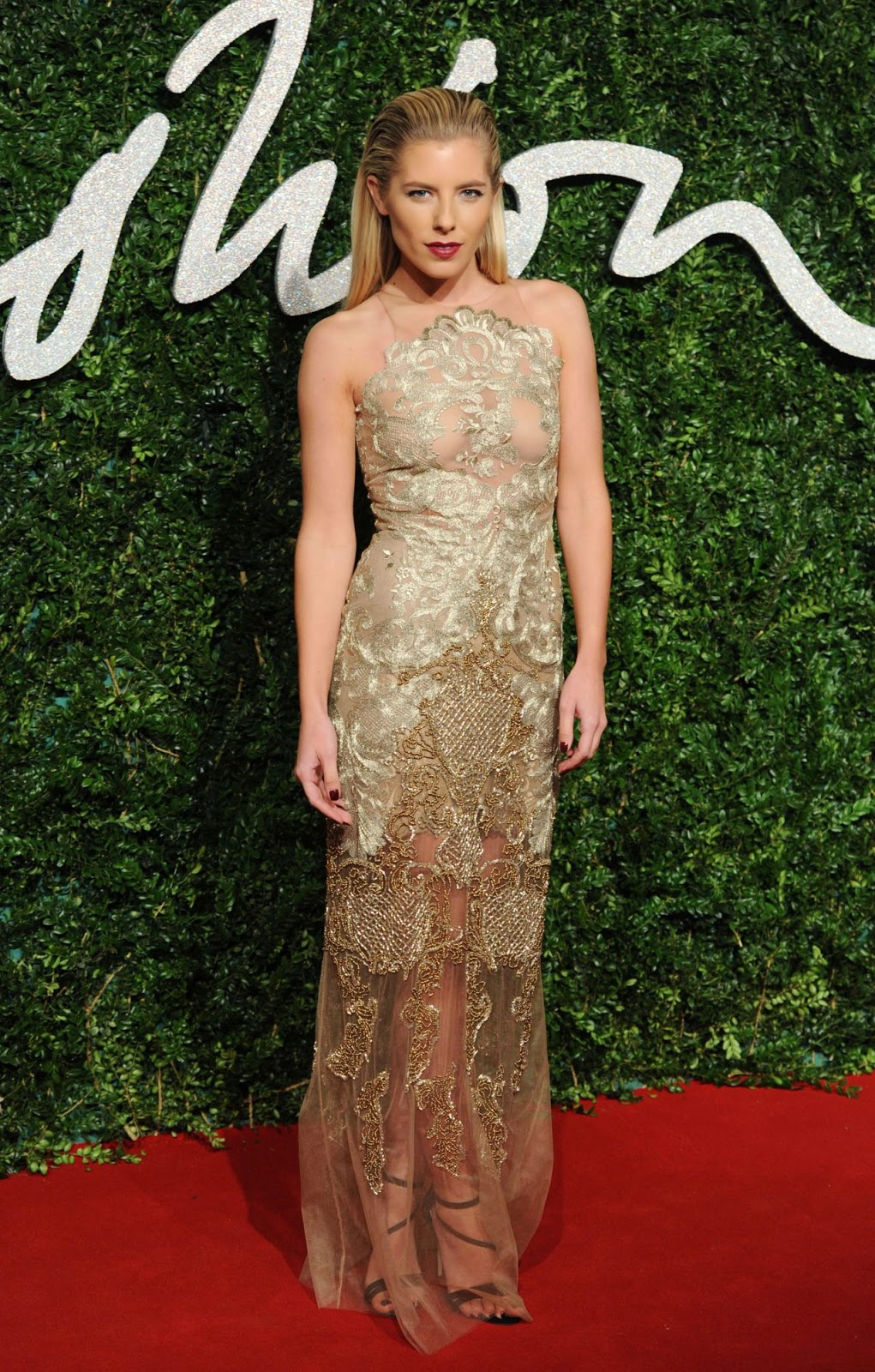 Mollie King wears Patricia Bonaldi peekaboo gown at the 2014 British Fashion Awards