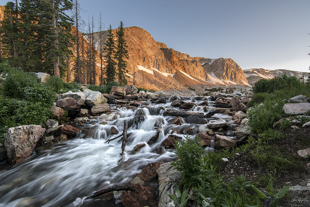 waterfall flowing from Lake Marie with Medicine Bow Peak