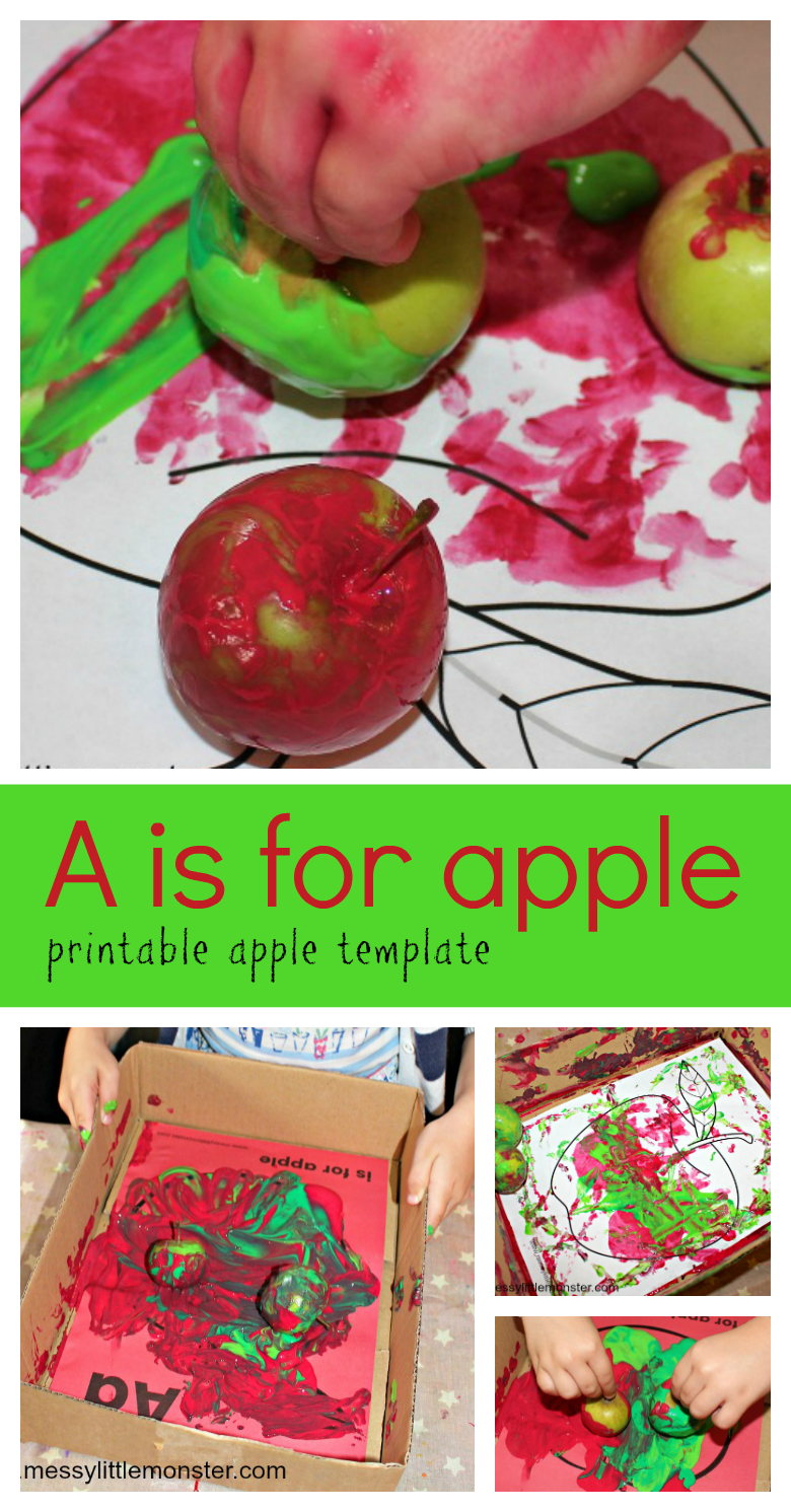 A fun apple theme art activity for preschoolers! Use the FREE A is for apple printable included, collect some apples and get painting!