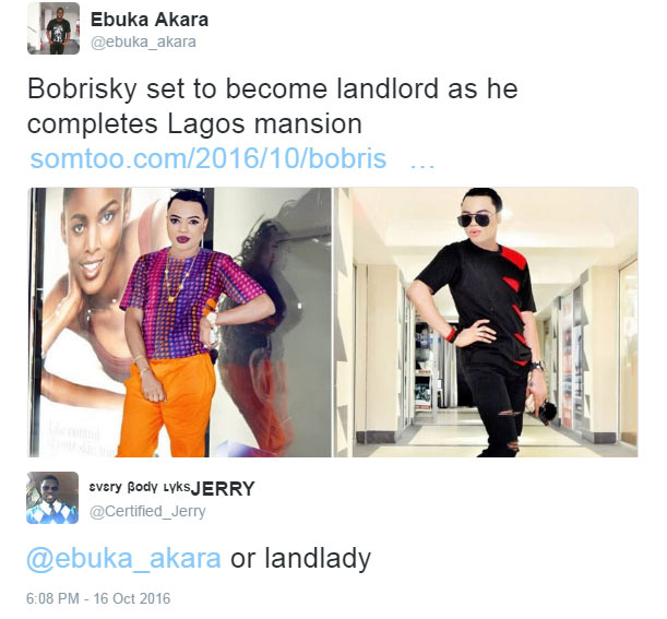 Bobrisky's house: Between two Twittter users