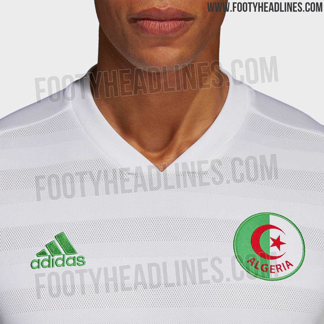 6accd82a4 The Algeria 2018 home shirt is white with green and red trim and a subtle  hoop pattern on the front. It has the same collar as the new Argentina  jersey and ...