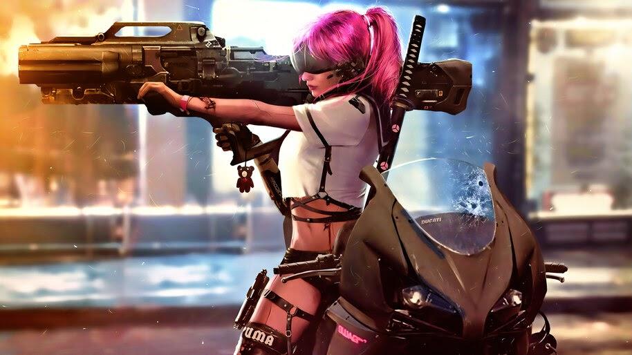 Cyberpunk, Girl, Cannon, Sci-Fi, 4K, #4.1065