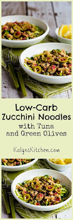 Low-Carb Zucchini Noodles with Tuna and Green Olives from KalynsKitchen.com