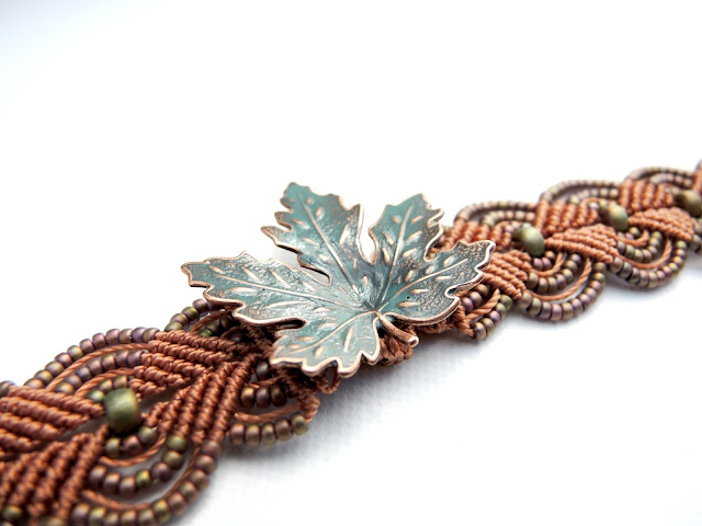 Turquoise leaf in copper micro macrame bracelet by Sherri Stokey of Knot Just Macrame.