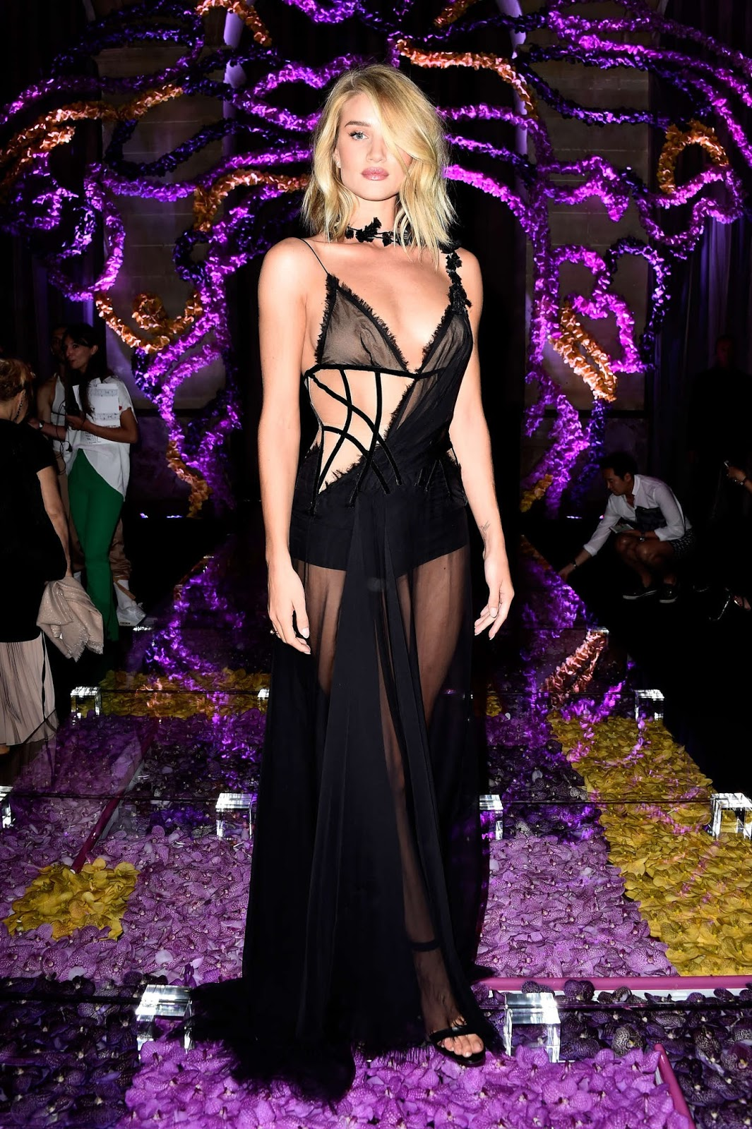 Rosie Huntington-Whiteley goes braless in a sheer dress at the Atelier Versace Fall/Winter 2015 Show