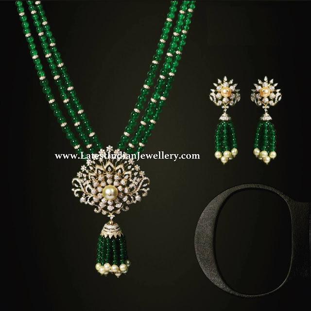 Diamond Pendant Set with Tassels