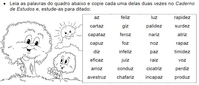 Atividade com palavras que têm VOGAL+Z