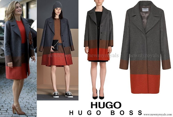 Queen Letizia wore Hugo Boss Colorina Wool Blend Cashmere Striped Coat and skirt