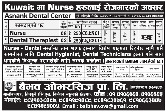 Jobs in Kuwait for Nepali, Salary Rs 86,928