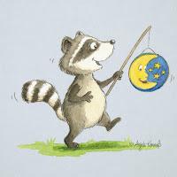 Kinderbuchillustration, Waschbär, niedlich, Bilderbuch, Tiere, Aquarell, Kinderlied