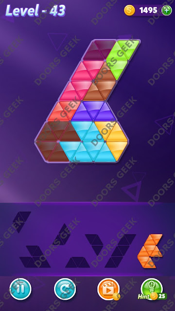 Block! Triangle Puzzle 7 Mania Level 43 Solution, Cheats, Walkthrough for Android, iPhone, iPad and iPod