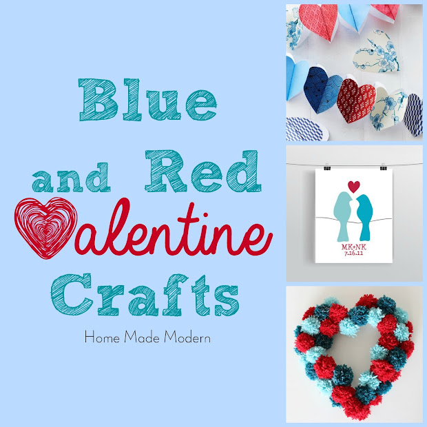 blue and red valentine crafts