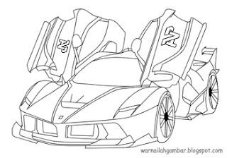 Mewarnai Mobil Sport Ferrari 2 Mewarnai Gambar