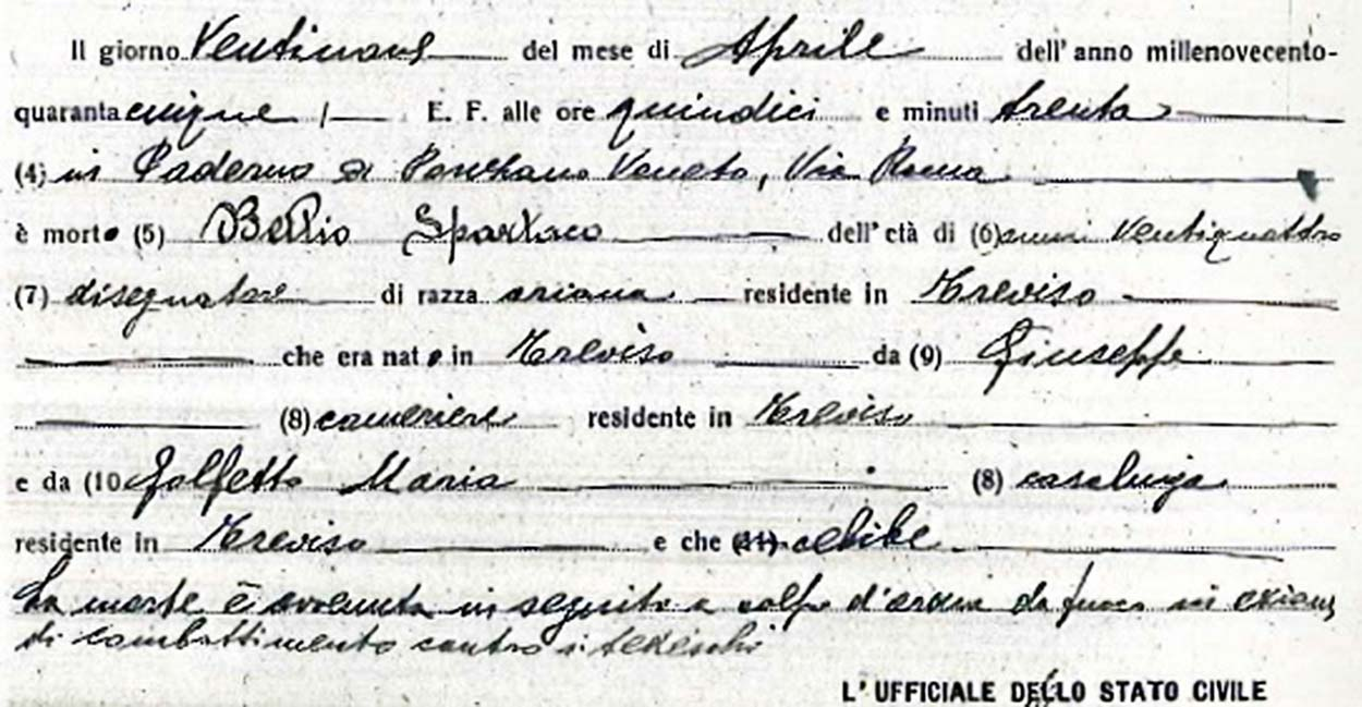 Comune Di Ponzano Veneto i caduti partigiani del comune di treviso: spartaco bellio