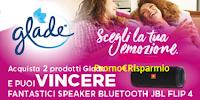 Logo ''Ascolta le tue emozioni con Glade'' e vinci subito 30 speaker JBL Flip 4