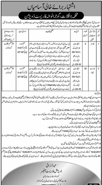 Forest & Forest Guard Jobs Division Gujranwala.Before 13.02.2017