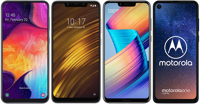 Samsung Galaxy A50 vs Xiaomi Pocophone F1 vs Honor Play vs Motorola One Vision