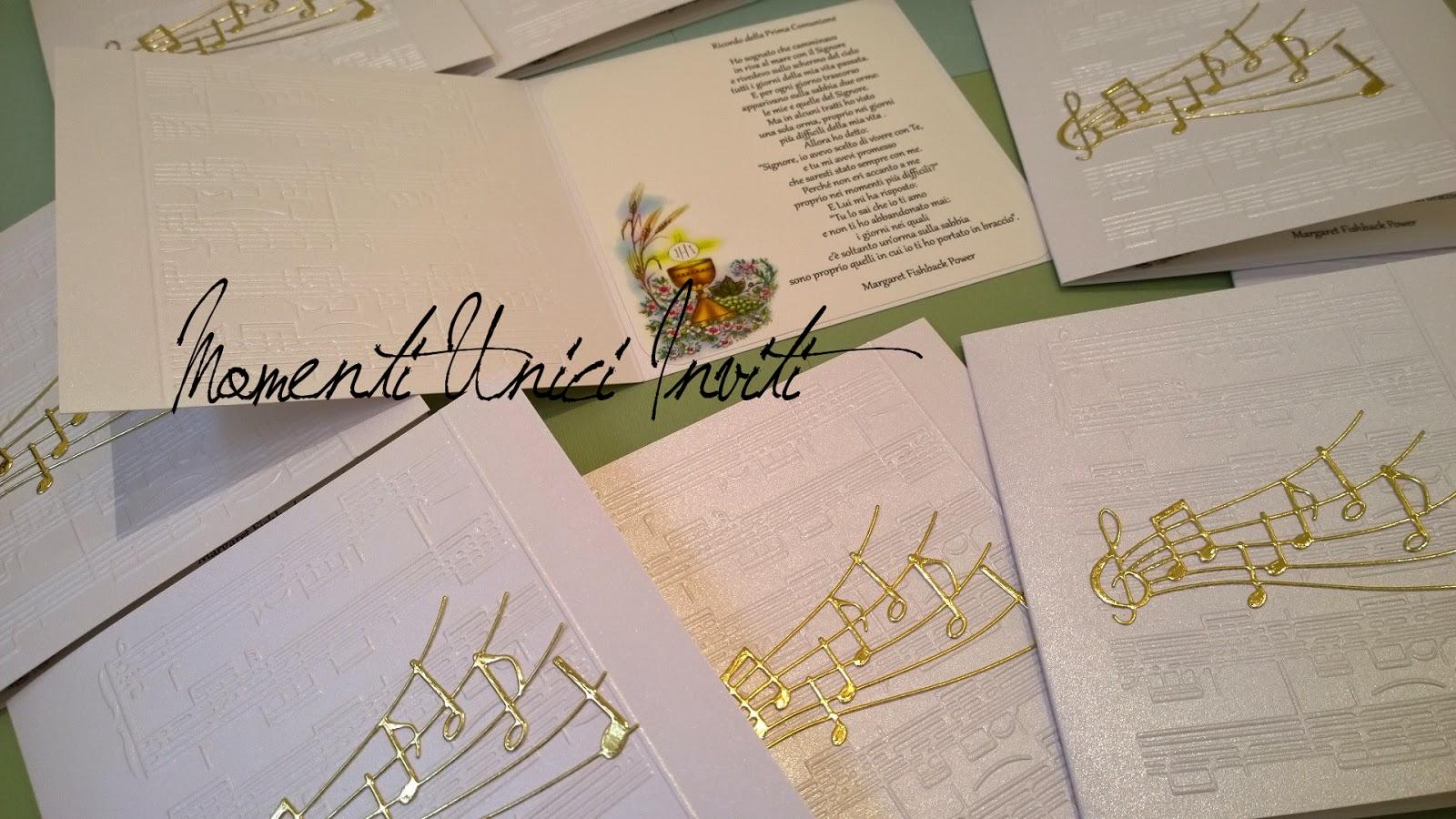 x Gli inviti a tema musicale per la Prima Comunione di AnastasiaBiglietti d'invito - Prima Comunione Colore Bianco Colore Oro Tema Musica