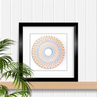 Modern string art style mandala embroidered picture A4 PDF instant download paper embroidery pattern.