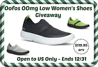 Enter to win the Oofos OOmg Low Women's Shoes Giveaway. Ends 12/31