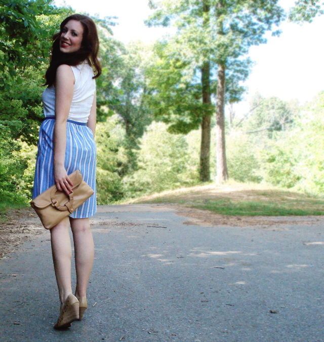 DIY dress from Oxford-button up shirts, blue belt, clutch, & wedges