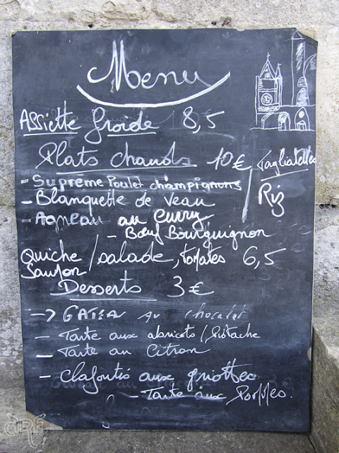 Handwritten menu at Musée Jacquemart André, France