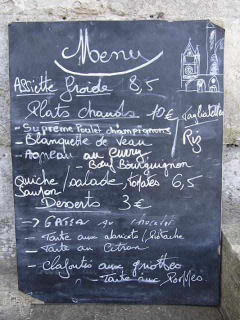Handwritten menu at Musée Jacquemart André, France