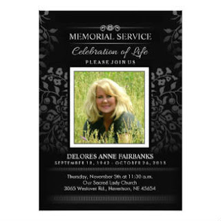 Black & White Floral Memorial Service Photo Invite