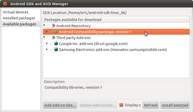 Install android package installer