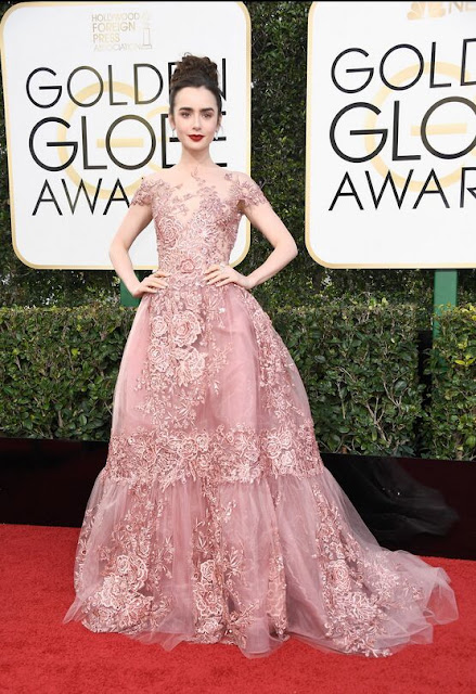 Lily Collins in a Pink Embroidered Gown At 2017 Golden Globes
