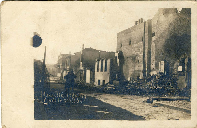 "Bitola, 17 August 1917. Southwest corner of today's streets Sirok Sokak and ""Dimitar Ilievski-Murato"". At this place around 1920 it was built the restaurant ""Central"" and later, around 1975 hotel ""Epinal""."