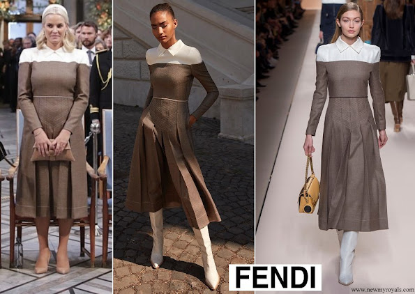 Crown Princess Mette Marit wore Fendi Dress from Fall Winter 2018-19 Collection