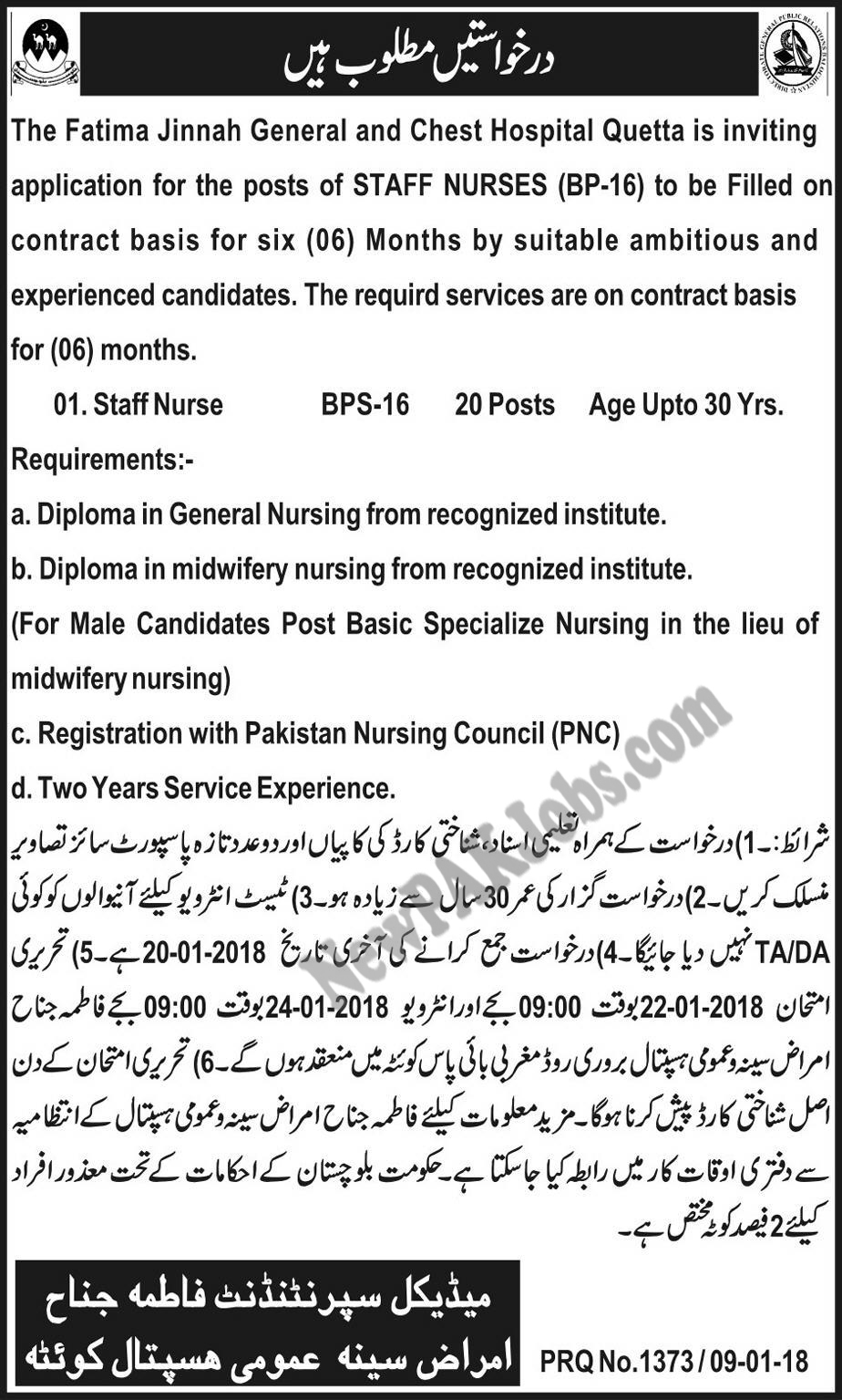 Latest Jobs in Fatima Jinnah Chest Hospital Quetta for Nurse Staff Jan 2018