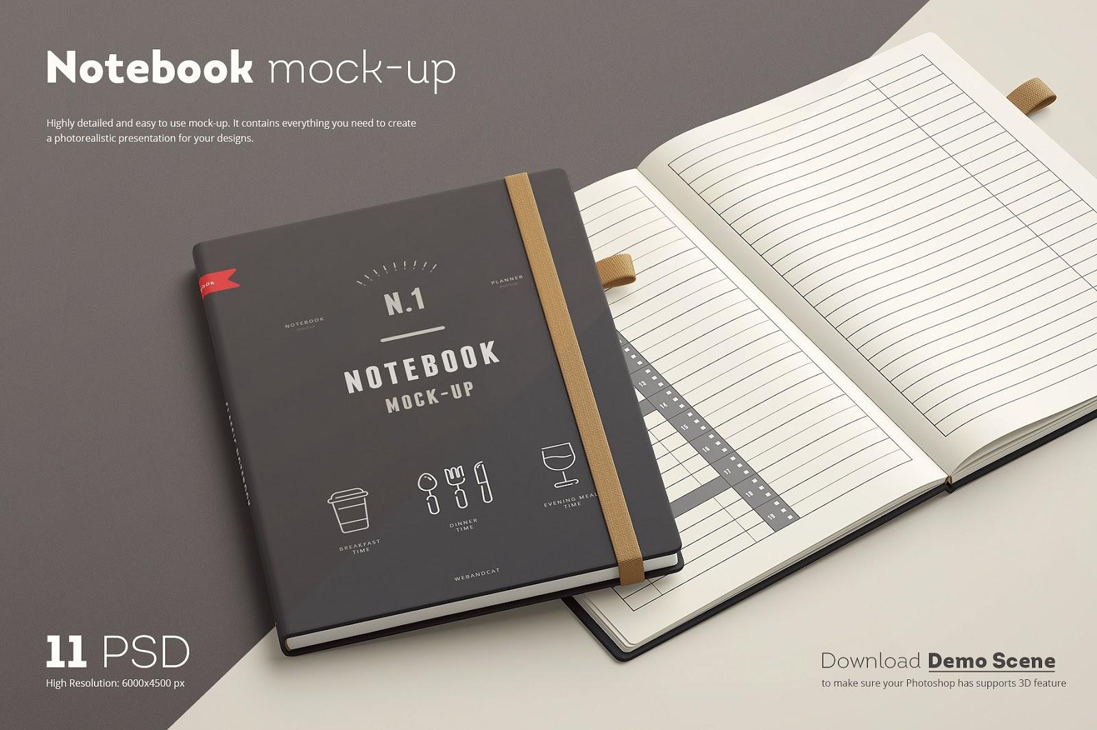 Planner Notebook Mockup Set
