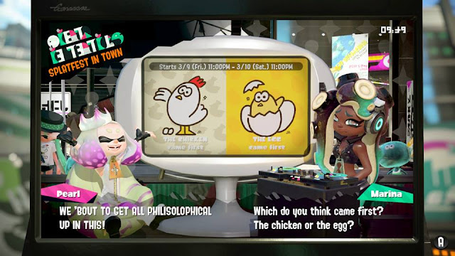 Splatoon 2 Splatfest which came first the chicken or egg Pearl Marina philisolophical