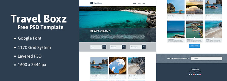 Preview Travel Boxz Free PSD Template