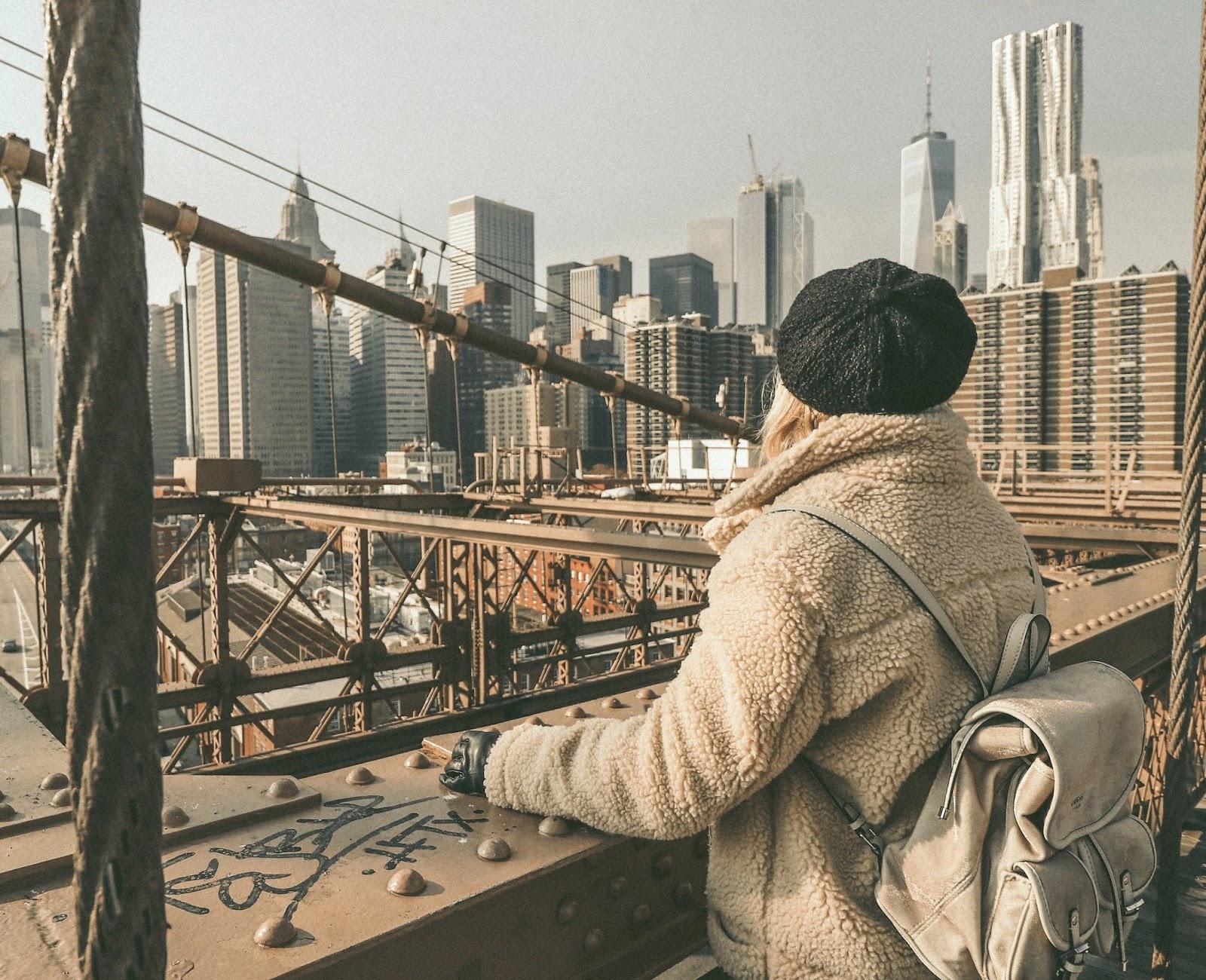 Brooklyn Bridge winter outfit shearling coat