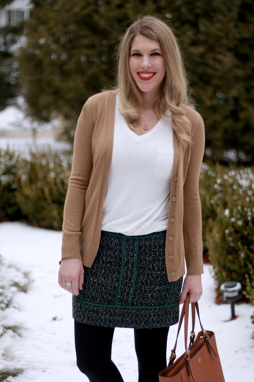 white tee, camel cardigan, green tweed skirt, 4Eursole oxfords