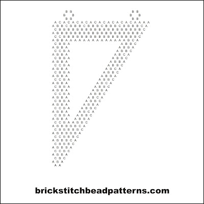 Free brick stitch seed bead necklace pendant pattern letter chart.