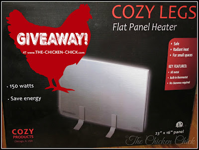 Cozy Legs Flat Panel Radiant Heater GIVEAWAY at www.The-Chicken-Chick.com