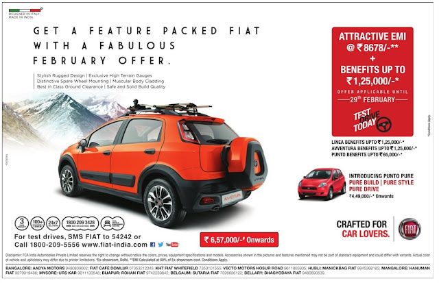 Own fiat cars with attractive benefits up to Rs 1,25,000 | Offer valid till February 29th 2016 | discount offer
