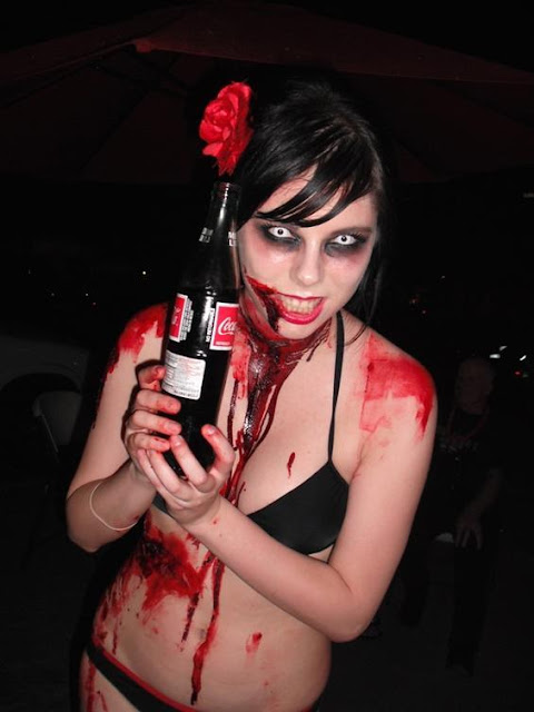 zombie girl wearing a black bikini