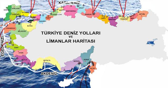 Türkiye Deniz Yollarını ve Limanları gösteren harita